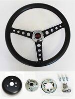 "Chevelle Nova Camaro Impala Black on Black Steering Wheel Black/Red Cap 14 1/2"""