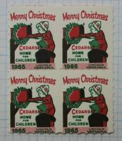 Merry Christmas Cedars home Children 1965 Lincoln NB Charity stamp seal block