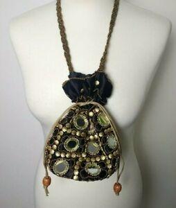 Vintage 80s/90s Boho Black Gold Beaded Mirrored Drawstring Bag Evening Handmade