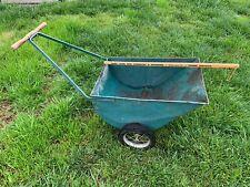 Vintage Metal Garden Cart Lawn wheel Barrow rustic