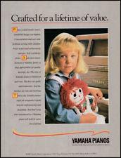 Yamaha pianos print ad 1988 pretty child, Raggedy Ann doll