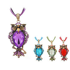 Women's Colorful Crystal Rhinestone Owl Pendant Long Sweater Chain Chic Necklace