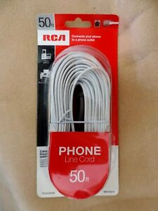New! RCA 50 ft Phone Line Cord / Telephone Cable White 4 Conductor