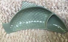 RARE FIND Poppy Trail CHIP & DIP Green FISH  DISH Metlox Pescado