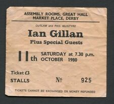 1980 Ian Gillan from Deep Purple Concert Ticket Stub Derby UK Glory Road