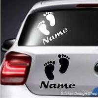Fußabdruck Baby mit Wunschname Autoaufkleber Sticker Auto Namen Fuß Aufkleber