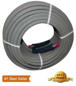 """100 ft 3/8"""" Pressure Washer Hose Gray Non-Marking 4000psi 275 Degrees"""