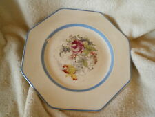 Regal Ware Octagonal Plate, Vintage England, Floral w/Blue Trim