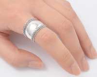 Bali Design Ring Sterling Silver 925 Tribal Wide Band Jewelry Selectable
