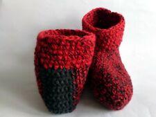 Unisex crochet slippers/socks Gray Red melange Size 9-10 USA, Soft house shoes