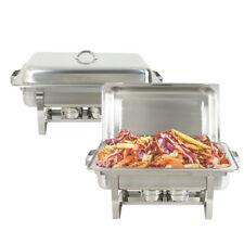2 Pack Full Size Buffet Catering Stainless Steel Chafer Chafing Dish Sets 8 Qt