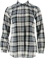 Joan Rivers Perfect Plaid Shirt Long Slvs Black White 1X NEW A309779