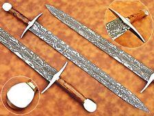 CUSTOM HAND MADE DAMASCUS STEEL SWORD WOOD HANDLE
