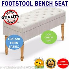 Seat Footstool Solid Bench Cushion Stool Ottoman Bedroom Wooden Legs Beige Cream