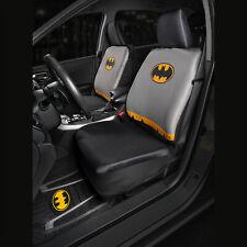 Sideless Front Car Seat Cover + Rubber Floor Mats Set DC Batman Detachable Cape