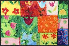 Salonloewe Fußmatte Tulpenpatchwork 50 x 75 cm waschbare Schmutzmatte Floral