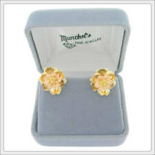 Ladies 14K Tri-Color Gold Flower Pierced Earrings