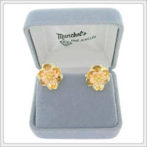 Ladies 14K Tri-Color Gold Flower Pierced Earrings