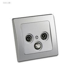 Antennendose Dose Anschlussdose TV+Radio+Sat-Kabel inkl. Rahmen UP Silber