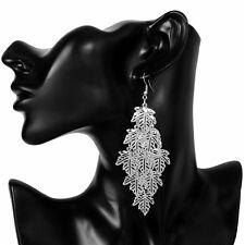 Fashion Jewelry Gold/Sliver Plated Earrings Women Maple Leaf Long Earrings