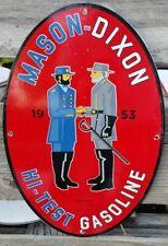 OLD VINTAGE 1953 MASON DIXON PORCELAIN SIGN YANKEE REBEL GAS OIL CIVIL WAR BAR