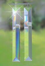"Long 10"" Crystal Prism Triangular Set Lot of 4 Christmas Suncatcher Feng Shui"