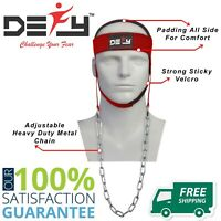 DEFY NEW NYLON WEIGHT LIFTING HEAD HARNESS NECK STRENGTH GYM EXERCISE PADDED RED