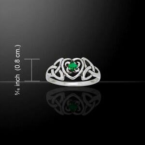 Celtic Heart Birthstone Ring Emerald Glass .925 Sterling Silver by Peter Stone