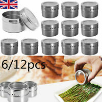 6/12x Stainless Steel Magnetic Spice Rack Pot Herb Tin Jar Storage with Labels