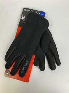 Spyder Synthesis Leather Palm Stretchable Gloves Black With Gray Logo (Large)