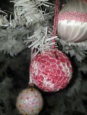 BOLAS de NAVIDAD. De ganchillo. Crochet. Hecho a mano. Degradado Rosa/Blanco