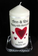 40th Wedding Anniversary  Congratulations Personalised Candle Gift  #1