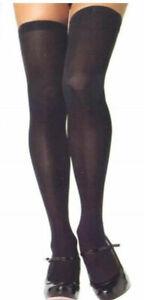 Leg Avenue Plus Size Stockings Opaque Thigh High Queen 1X Black or White 6672 Q