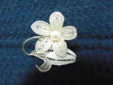 "Flower Brooch 2"" Tall Vintage Silver Plate Filigree"