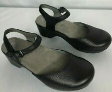 Dansko womens size 8 shoes black leather Mary Janes adjustable straps