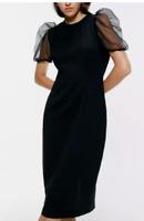 NWT Zara Black Dress Sheer Organza Puff Sleeves Size Small