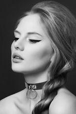 Bijoux Pour Toi Collier cuir noir et anneau argenté Sexy Neuf BDSM