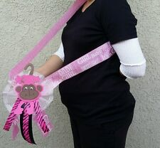 Baby Shower MOM TO BE *MONKEY* SASH,Pink, Gril, Ribbon Favors, Party, Mother