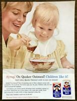 1962 Quaker Oats Print Ad Mother and Baby Daughter Syrup Children Like It!