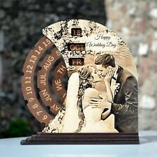 Wooden perpetual calendar with laser engraving of your photo. Small.