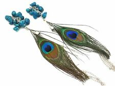 """Peacock 6"""" Unique Feather feathered Tassel Dangle Long Earrings Nice Quality"""
