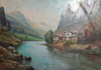 Antique European oil painting mountain landscape signed