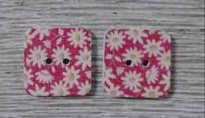 wood square buttons Sewing 2 Holes white red yellow 1/2 inch 2Pcs