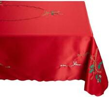 Lenox Holiday Nouveau Tablecloth 60 by 84-Inch Oblong/Rectangle Red