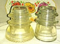 Lot of 2 Vintage Hemingray #42 and #17 Glass Insulators Clear very nice no crack