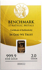 2 GRAM GOLD 24 CARAT CERTIFIED .999 FINE GOLD PURE GOLD BULLION INGOT D21b