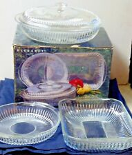 Vintage Elegance Indiana Clear Glass 4 Piece Oven Set  NIOB