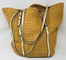 GORGEOUS Michael Kors Gold Studded Straw Large Shopper Tote Bag Handbag