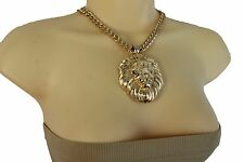 New Women Gold Metal Chain Link Cool Necklace Big Lion Head Charm Pendant Animal