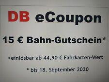 15 Euro Bahn Gutschein 15 € DB eCoupon / bis 18.09.2020 *BLITZVERSAND in 5 Min.*